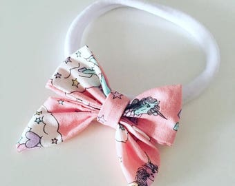 Baby Girl Nylon Pink Unicorn Bow Headband