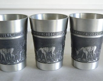 Three German Pewter Mugs Featuring Deer - with the Motto 'Gut Waidwerk Allewege