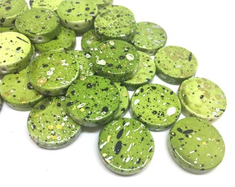 Lime Green Beads, painted Beads, 20mm Beads, circular acrylic beads, bracelet necklace earrings, jewelry making, bangle beads, green