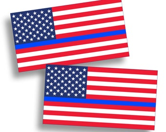 USA Blue Line American Flag Sticker Die Cut Custom Printed Car Truck Motorcycle Laptop Graphic Red White Blue