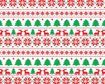 White Christmas Tree Reindeer Patterned HTV Heat Transfer Vinyl Ugly Sweater Print Tshirt Material