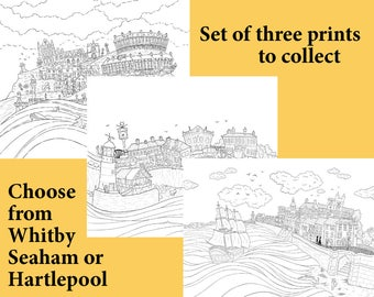 New for 2017 - A3 colouring posters - Seaham, Hartlepool, Whitby - From Seaham England