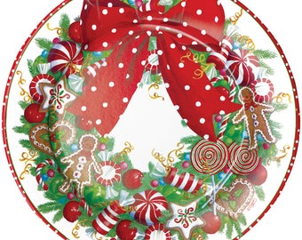 Candy Cane Paper Plates Wreath Design by Caspari Dinner Size Candy Canes Paper Plates for  sc 1 st  Etsy & Elf Paper Plate in Stocking Stripe Design by Caspari Fun Elf