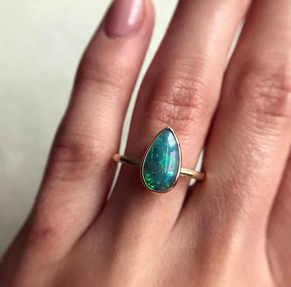 14K yellow gold ring with Australian black opal SZ 7.5