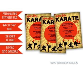 Printable Karate Birthday Invitation -  Ninja Party Invite - Martial Arts Party - Boy Birthday Invitations - Karate Party - Karate Invite