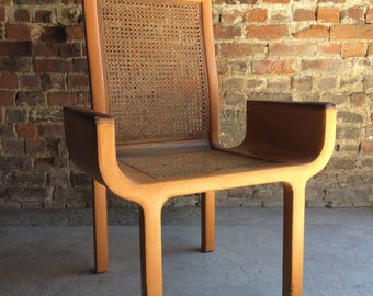 Original John Makepeace Tan Leather & Beech Armchair Chair Unique Rare Stamped