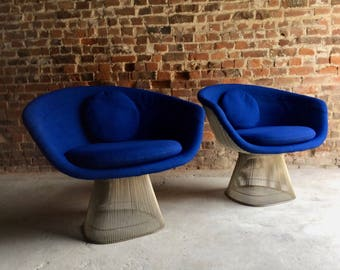 Classic Warren Platner Lounge Chairs Pair Wire Base Knoll International 1960's