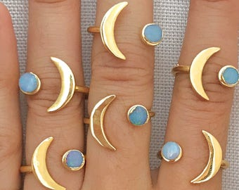 Opal Moon Ring // Gold Moon Ring // Gold Opal Moon Ring // Gold Opal Ring