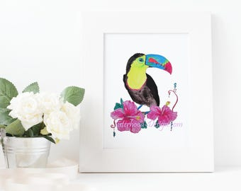 Toucan, colourful, tropical, art, watercolour, print