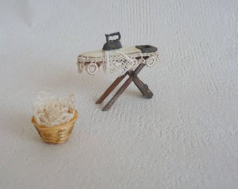 1:24 Antique Doll House miniature - antique Ironing Board with iron, laundry basket - Shabby Chic cottage style