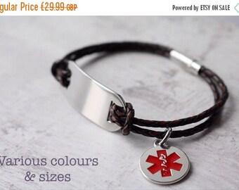 Summer Sale Medical alert bracelet personalized - Medical alert charm- leather bracelet - free engraving