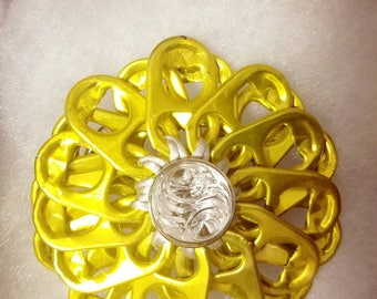 Yellow flower hair pin | pull tab | handmade | upcycle | READY TO SHIP