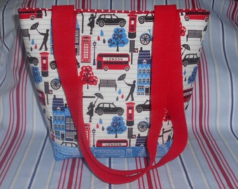 London tote-London themed bag-UK souvenir-Strong tote-Red white & blue bag-London Icons