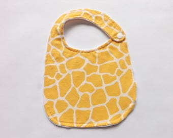 Baby Bib - Yellow Baby Bib - Giraffe Baby Bib - Flannel Bib - Minky Bib - Baby Shower Gift - New Born Gift  - Gender Neutral Bib