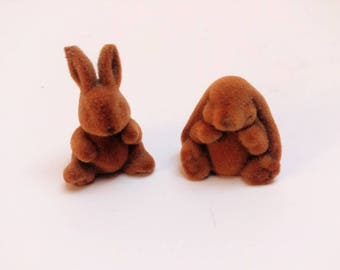 Vintage flocked bunny rabbit miniatures