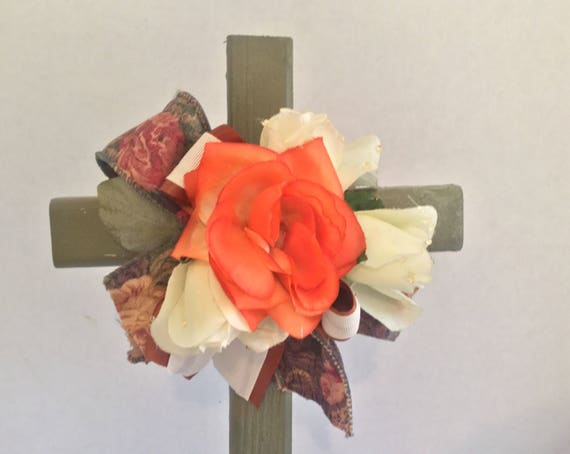 Wooden Cross, Cemetery Cross, Grave flowers, Roadside Memorial, Grave Marker, Memorial Cross, Floral Memorial