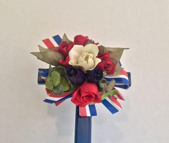 Patriotic Cemetery Cross, red white and blue Grave flowers, Roadside Memorial, Grave Marker, Memorial Cross, Floral Memorial.