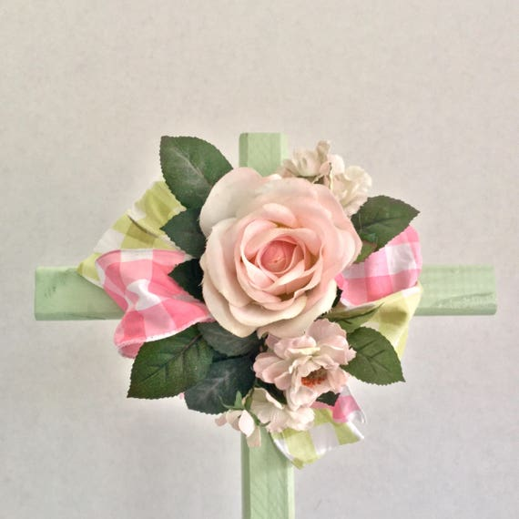 Easter Cemetery flowers , Cemetery Cross, Grave flowers, Roadside Memorial, mother grave cross