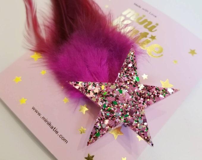 mini Katie Pink Feather Star  Hair Barrette Hair clip Adorable Premium Glitter hair Accessory hair clip