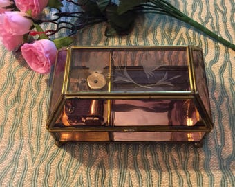 Cranberry Etched Glass Music Box, Vermont Ltd Floral Pink Glass and Brass Music Jewelry Box, Send in the Clowns Music Box, Glass Trinket Box