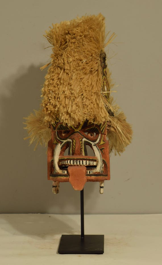 Papua New Guinea Mask Malangan Funerary New Ireland Wood Ceremonial Clan Mask
