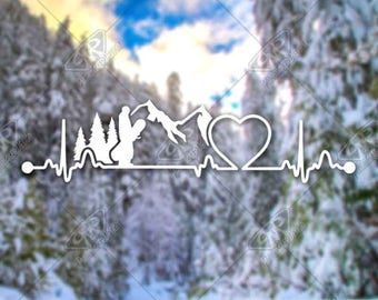 DECAL [Heartbeat Snowboarding v2] Vinyl Decal, Bumper Sticker, Car Window Decal, Laptop Decal, Adventure Decal, Water Bottle Decal