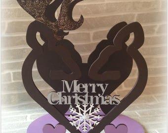 Merry Christmas Stag Reindeer Tealight Holder