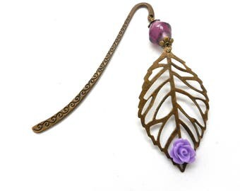 Bookmark bronze jewelry, leaf filigree and purple bead