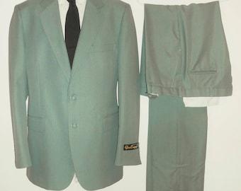 Vintage 80s Green 44L Suit NEW 2 Pc Jacket Pants Pinstripe Polyester Dual Vent Unfinished Hem Long