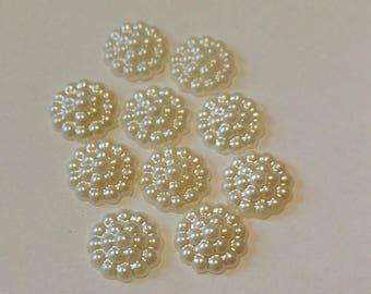10 Cream Colored  Rosebud -Flatback Button - Resin Button - #R-00127