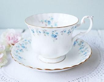 Vintage Royal Albert Tea Cup and Saucer, Memory Lane, Bone China England, High Tea, Wedding Gift, Gentleman Size