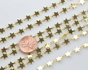Star Chain Gold Plated Brass. By THE YARD