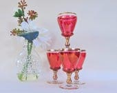 Ruby Lustre Effect Cordial Glasses Set of Four Gilded Highlight Wine Spirit Vintage Drinking Glassware