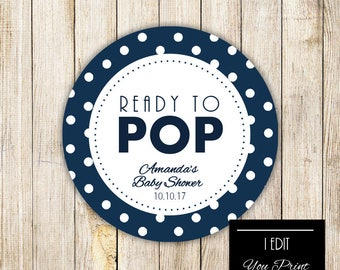 Digital READY TO POP Baby Shower Gift Tag, Navy Blue Polka Dots Gift Wrap, Popcorn Tags, Cupcake Topper, Baby Boy Shower Printable Sticker