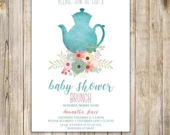 Teal BABY SHOWER TEA Party Invitation, Printable Baby Shower Tea Invite, Baby is Brewing Invite, Baby Shower Brunch, Floral High Tea Party