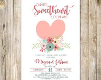 Our LITTLE SWEETHEART BABY Shower Invitation, A Little Sweetheart Is On the Way Invite, Baby Girl Boy Sprinkle Invite, Floral Pink Heart
