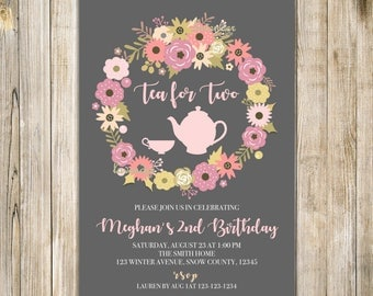Floral TEA FOR TWO Invite, Tea for 2 Invitation, Girls 2nd Birthday, Twin Girls Birthday Tea Party, Gold Pink, Floral Wreath Birthday Invite