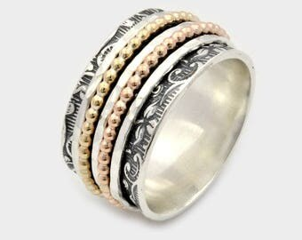 New worry ring, Sterling silver Spinning Ring, 5 piece spinner rings, spinner bands, anxiety spinner ring, Spin ring, silver wedding rings
