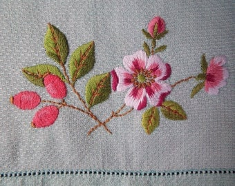 Vintage Irish linen Huckaback guest towel, could also be used as a tray cloth. 1950s mint green hand towel with hand embroidered pink roses