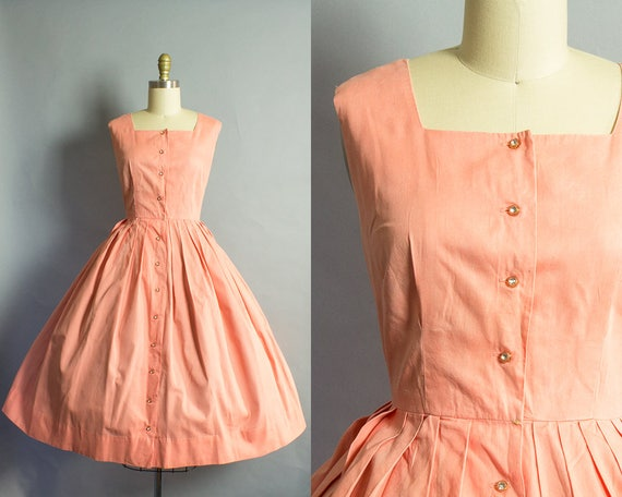1950s Peach Cotton Dress/ Large (38B/30W)