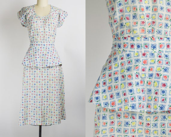 1940s Floral Cotton Voile Day Dress   Medium (36B/27W)