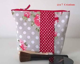 Clutch makeup fabric spring and white polka dots on red background, 20 cm by 15 cm.