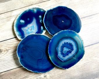 Blue Agate Coasters Blue Geode Coasters Set of Four - Agate Slice Geode Slice Crystal Coasters Rock Coasters Stone Slabs
