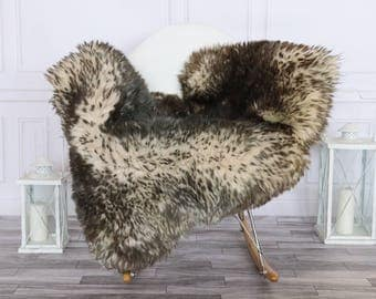 Sheepskin Rug | Real Sheepskin Rug | Shaggy Rug | Chair Cover | Sheepskin Throw | Gray Brown Sheepskin | #HERSEPT13