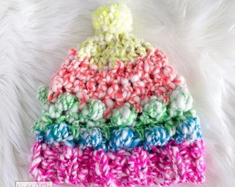 Chunky bright crochet beanie winter hat