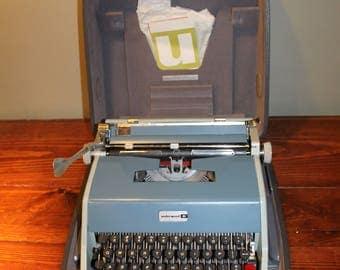 1960s Blue Olivetti-Underwood 21 Portable Typewriter