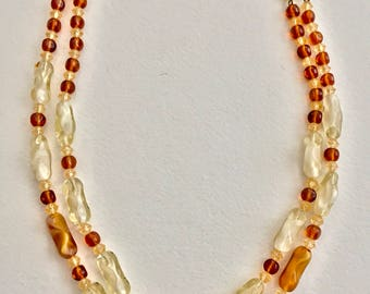 Mid-1990's Amber Glass Beaded Necklace