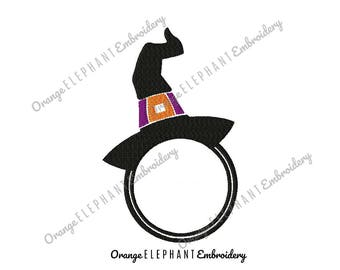 Halloween Witch's Hat Monogram Font Frame Unique Urban Machine Embroidery Design digital File