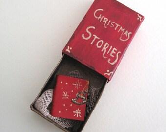 Christmas stories book, Christmas diorama Ornaments, Christmas Ornament, tree decoration, miniature diorama, matchbox, miniature books