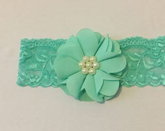 Seafoam Green Chiffon Flower With Pearls on Stretch Lace - Newborn Headband